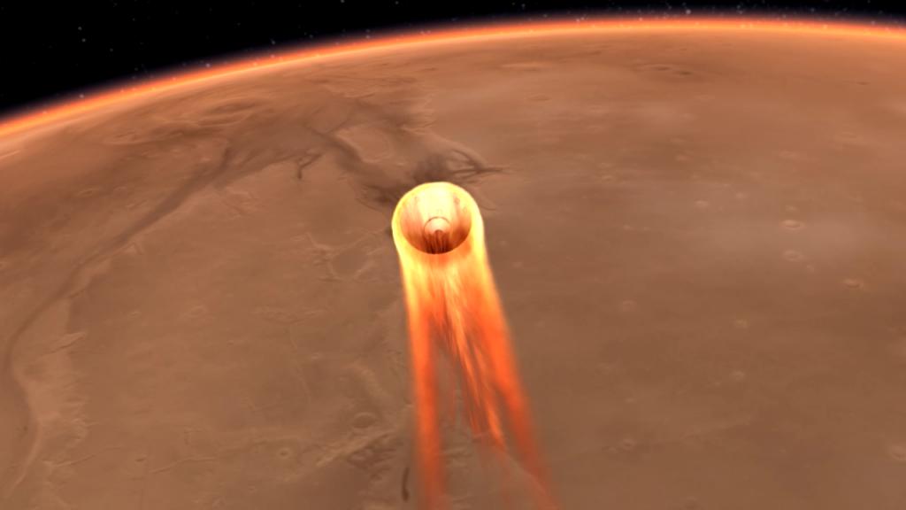 InSight podczas wejścia w atmosferę Marsa. Rys. NASA/JPL-Caltech