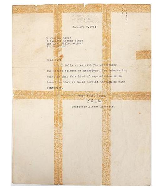 List Einsteina dotyczący astrologii
