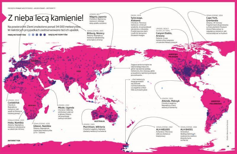 Infografika pokazująca, gdzie najczęściej znajduje się meteoryty